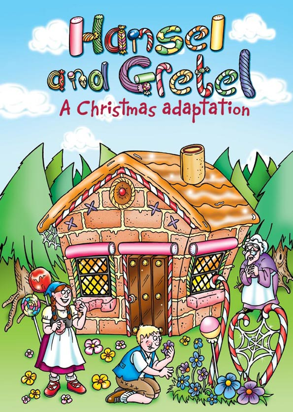 Cartoon book cover for Hansel and Gretel. Cartoonist for hire - book cover for Hansel and Gretel spin-off. Cartoon of House made of sweets