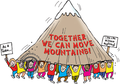 motivational cartoon - cartoon of a number of people carrying a mountain above their heads, Together we can move mountains