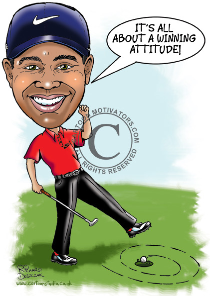cartoon caricature of Tiger Woods - putting a funny putt - he's winner