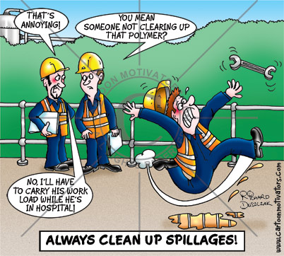 health and safety cartoon. Cartoon of guy slipping on some spilt liquid, hurting himself badly. Colleagues in the background talking. Slips and trips cartoon.