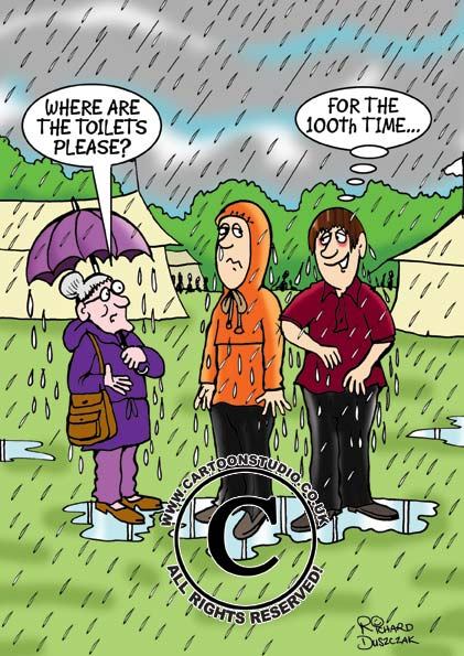 Raining cartoon. Old lady with brolly asking someone for the toilet. Guys going the extra mile to help her out!
