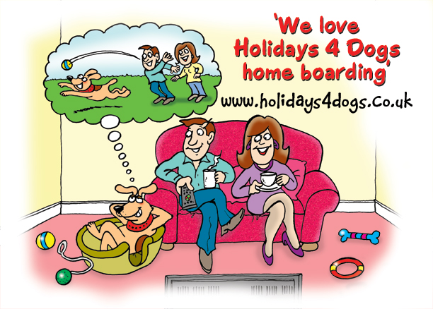 dog cartoons. cartoon depicting a family at home on the settee watching TV with a dog at their side in his dog basket. Cartoon dog adverttisement for Holidays 4 Dogs