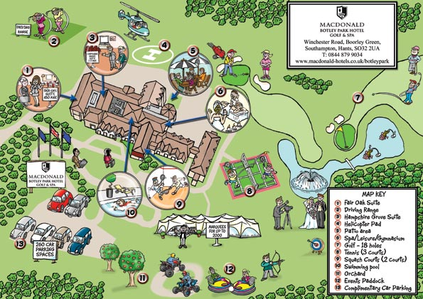 cartoon map of Botley Park hotel. Map includes small illustrations to help people around the grounds of the hotel. Cartoonist for hire who draws maps for your business.