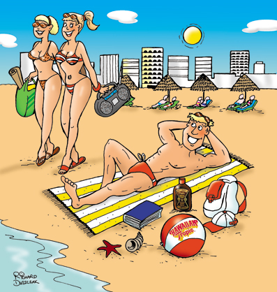 beach scene cartoon, two well tanned ladies walk past a guy laid on the beach who has all his sun tan lotions spread out.