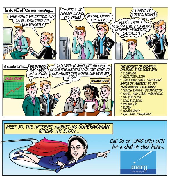 marketing business cartoon strip, cartoons of office colleagues discussing Superwoman work