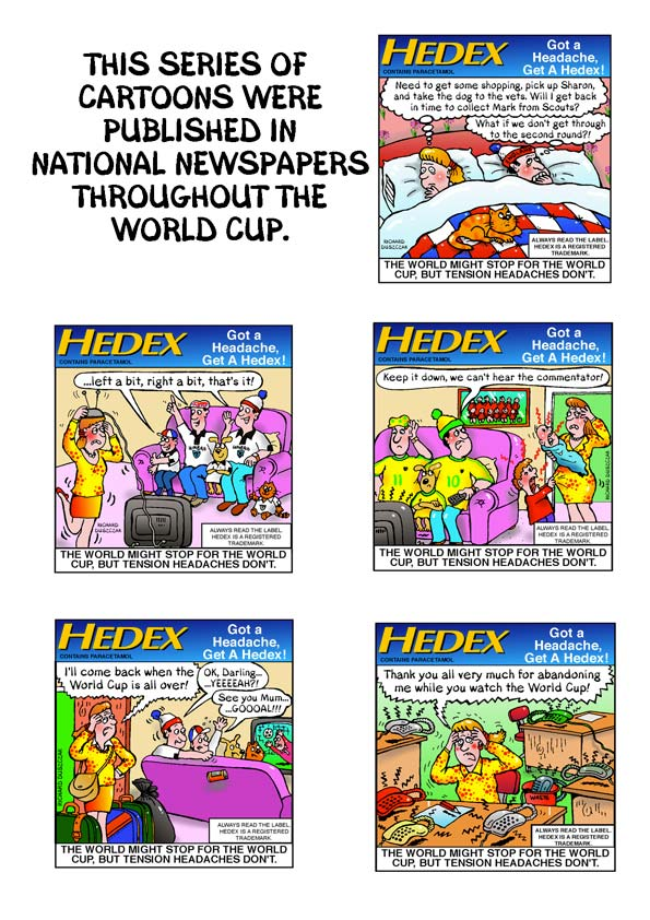 cartoons to promote hedex throughout the World Cup