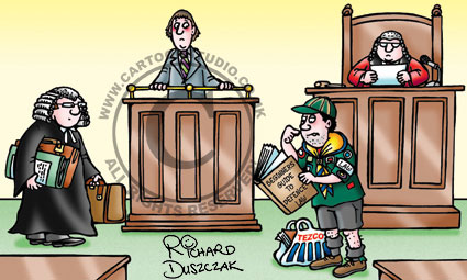 cartoon of boy scout in a courtroom defending a client as opposed to having a barrister.